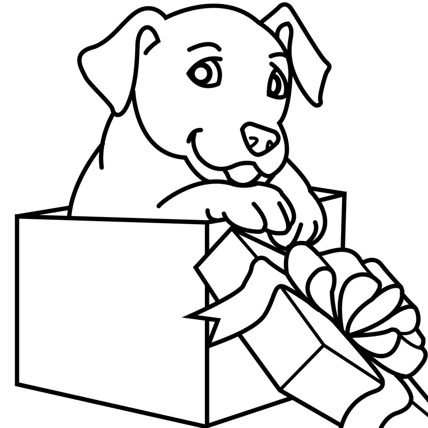 Labrador For Christmas Coloring Page