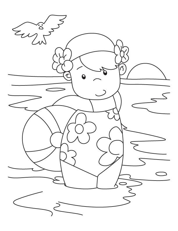 Little Girl Swimming At Beach Coloring Page
