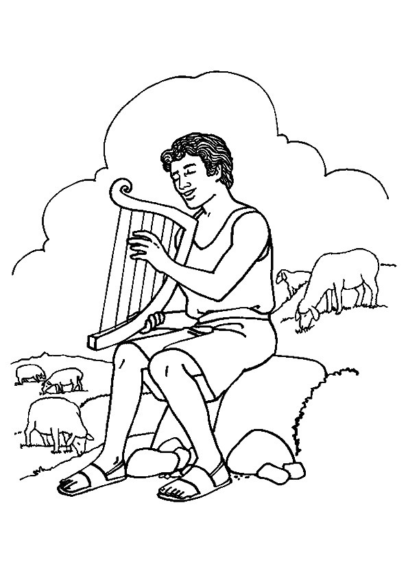 Man Playing Harp Coloring Pages