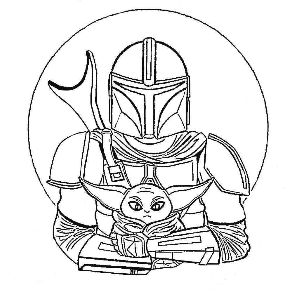 Mandalorian And The Child Coloring Page