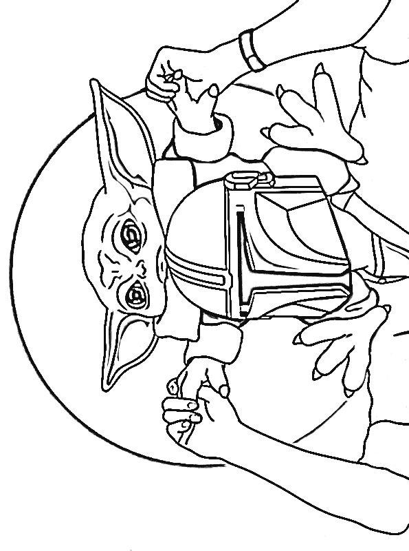 Mando And Baby Yoda Coloring Page