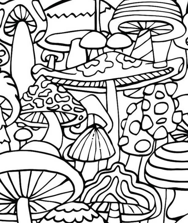 Mushroom Collage Coloring Page