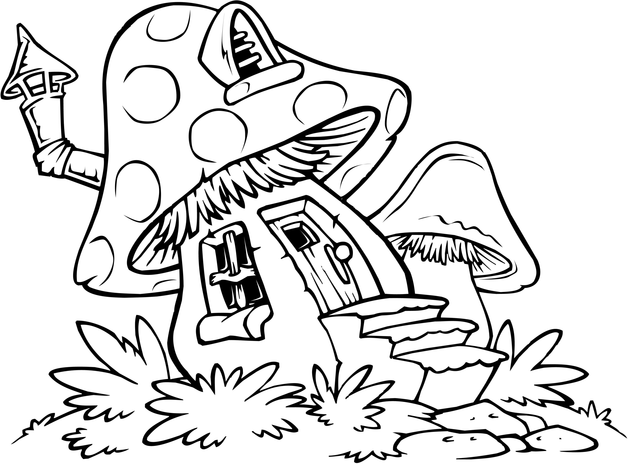 Mushroom House Coloring Pages