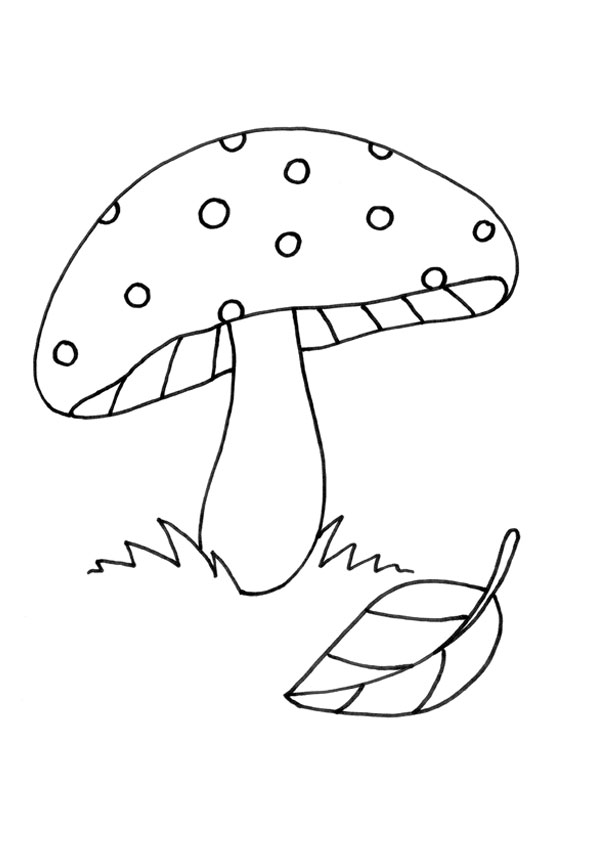 Mushroom And Leaf Coloring Pages