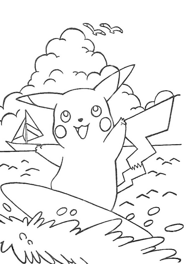 Pikachu Surfing Coloring Page
