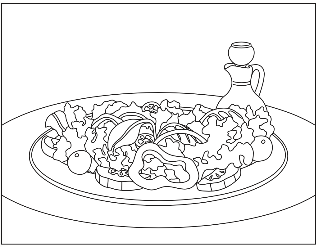 Salad With Lettuce Coloring Page