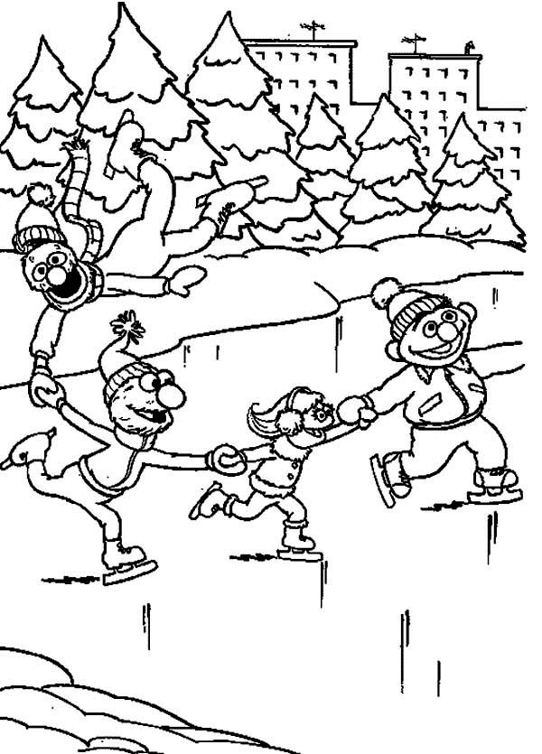 Sesame Street Characters Ice Skating Coloring Page