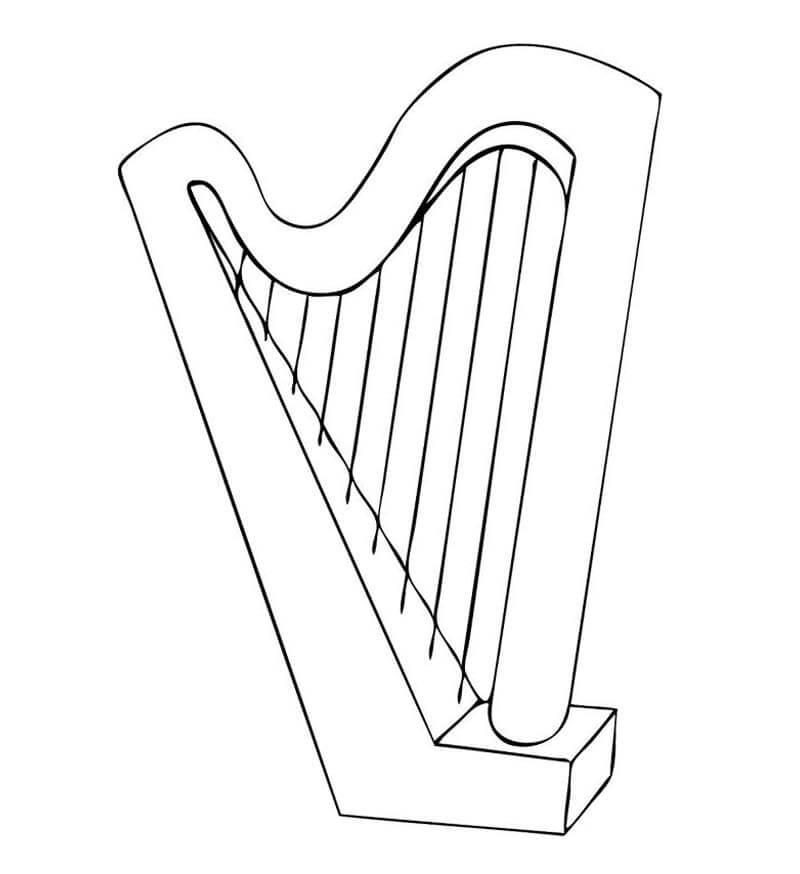 Simple Harp Coloring Page
