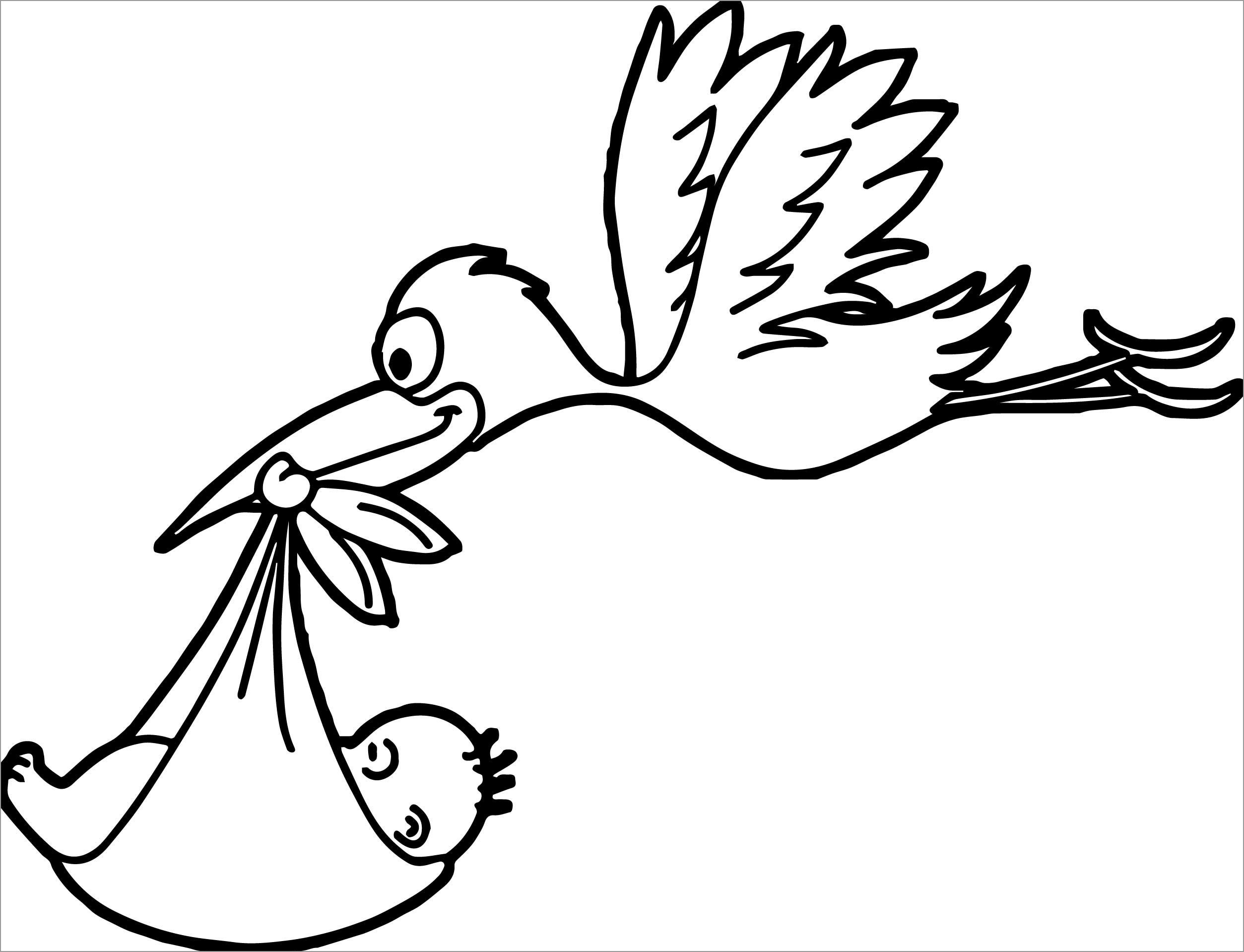 Stork Delivering Baby Coloring Page