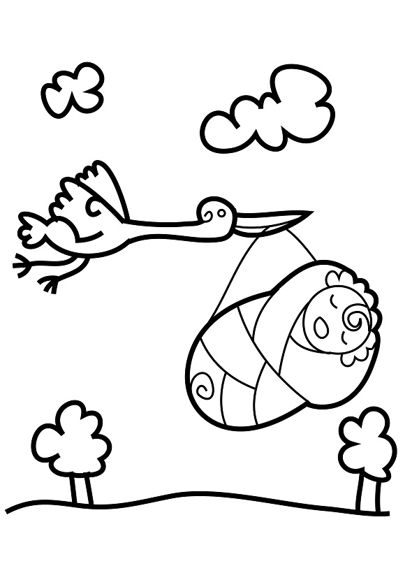 Stork With Baby Coloring Page
