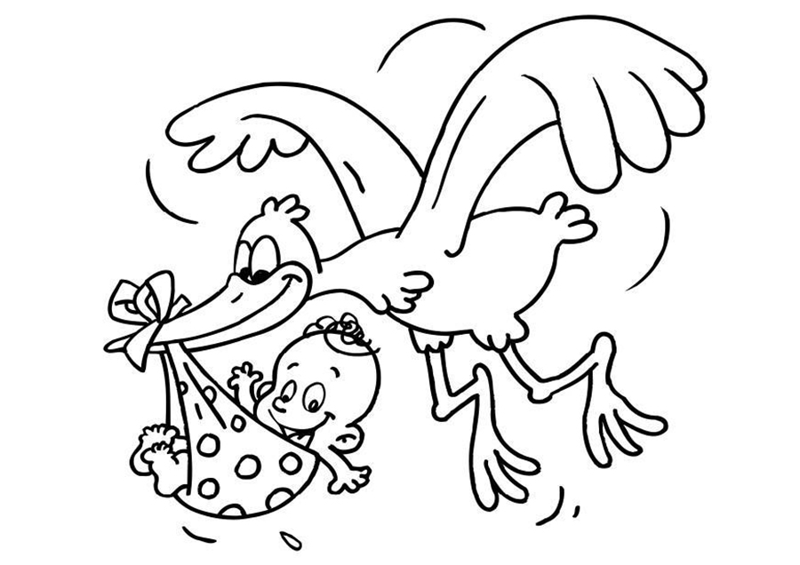 Stork And Baby Coloring Pages