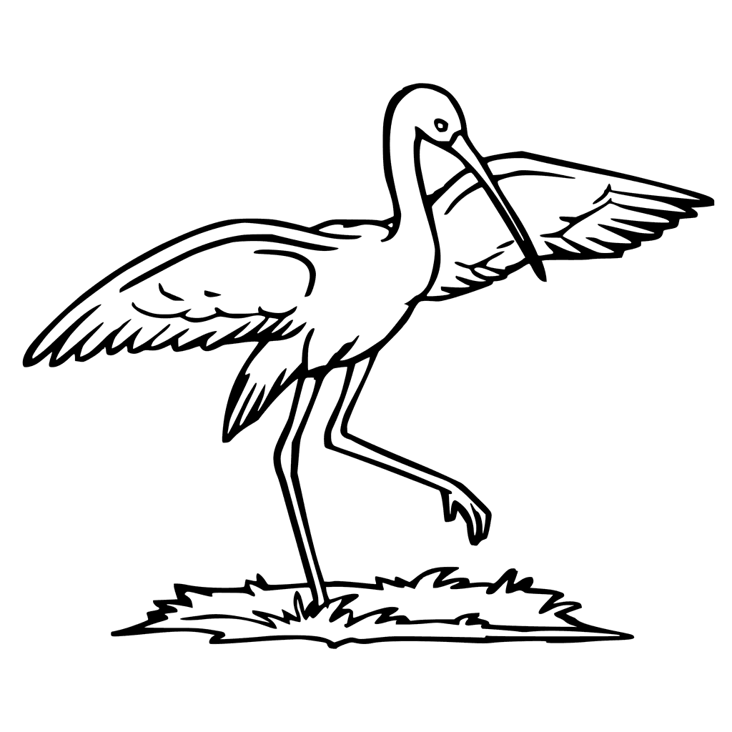 Stork In Grass Coloring Page