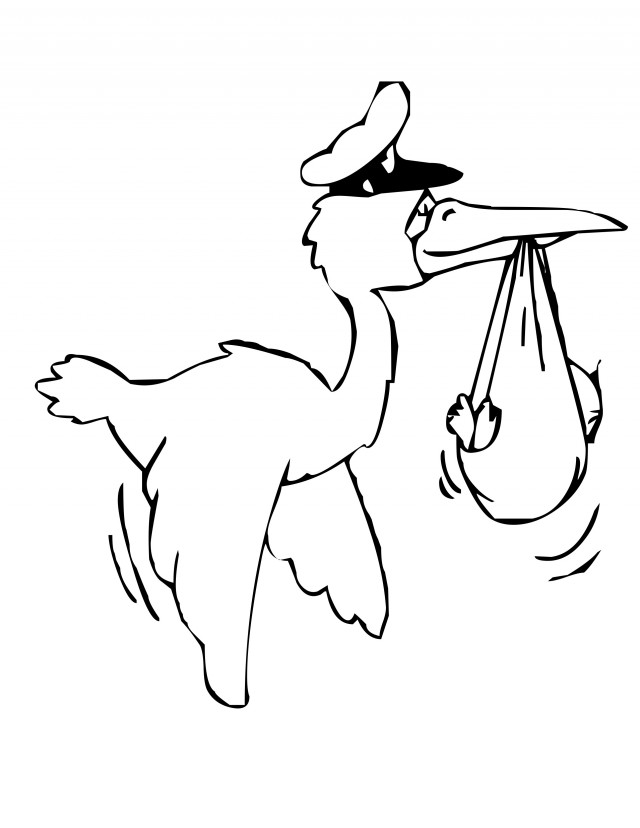 Stork With Package Coloring Page