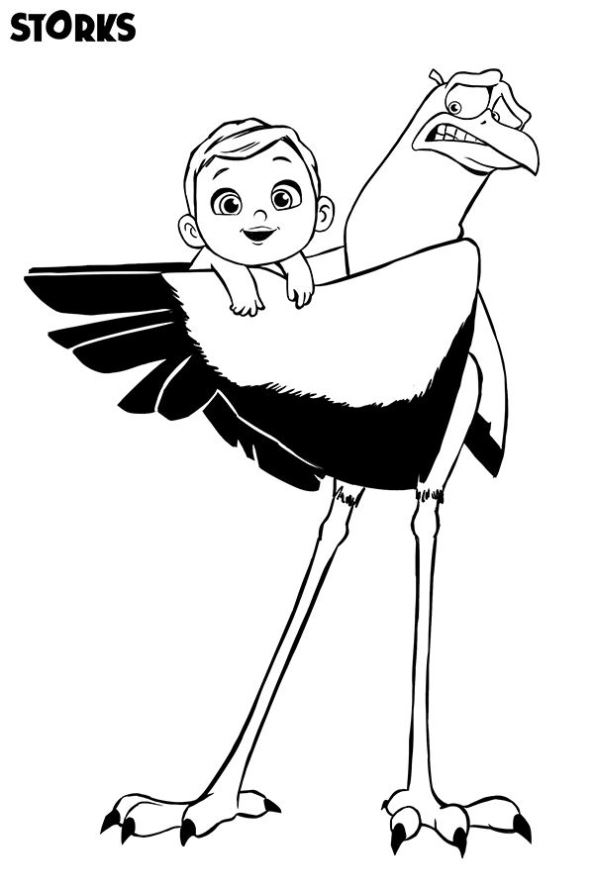 Storks Coloring Page