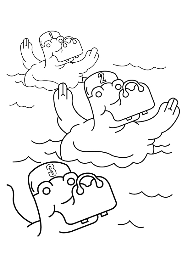 Swimming Hippos Coloring Page