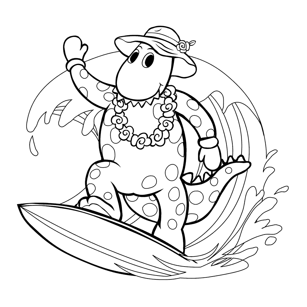 Wiggles Dorothy The Dinosaur Surfing Coloring