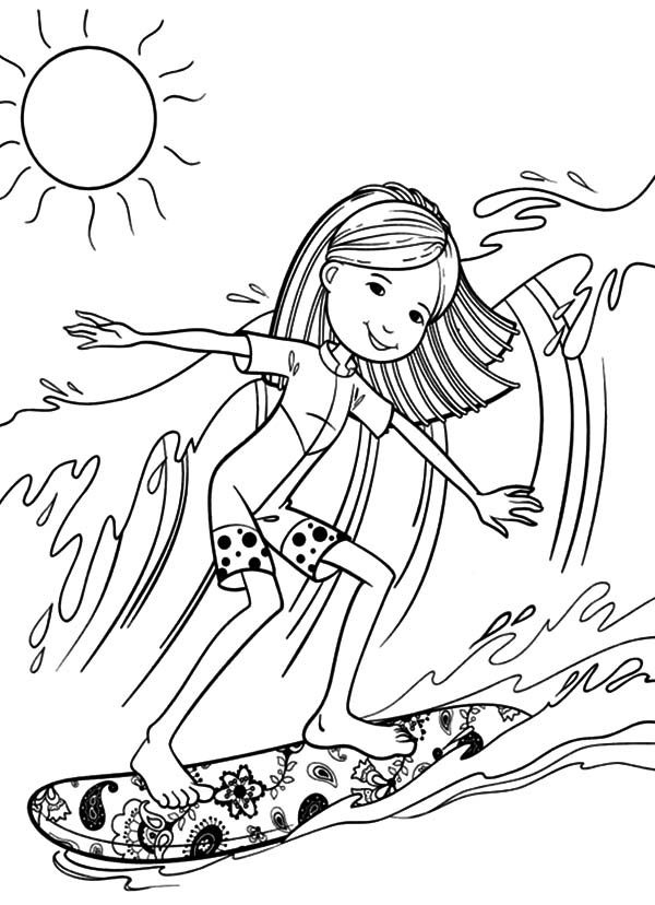 Young Girl Surfing Coloring Page