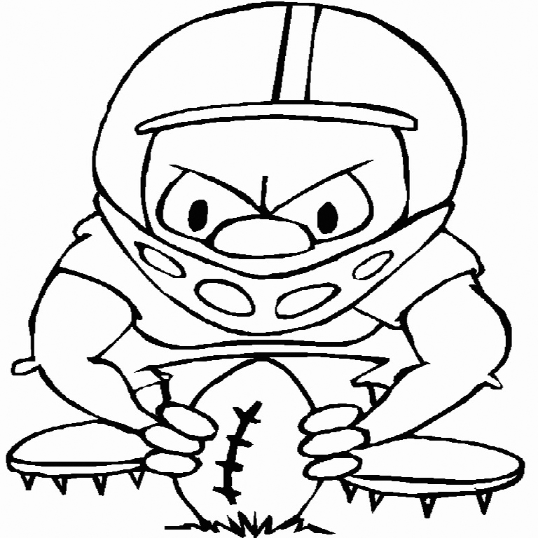 Cartoon Playing Rugby Coloring Page
