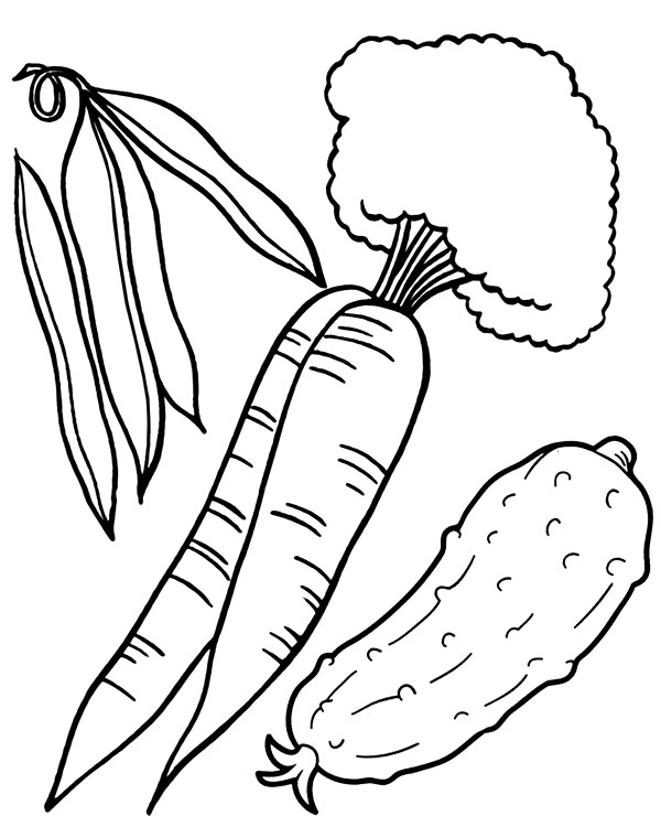 Cucumber And Carrots Coloring Pages
