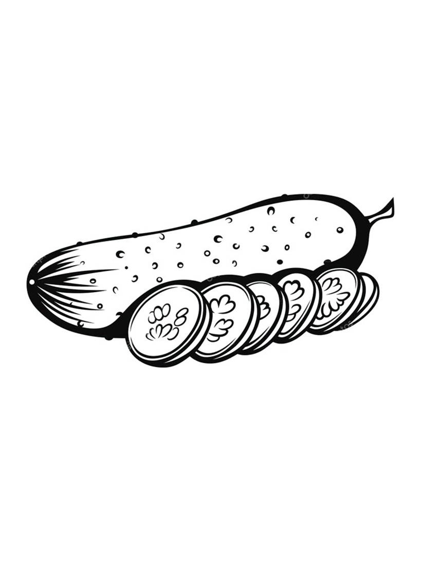 Cucumber And Slices Coloring Pages