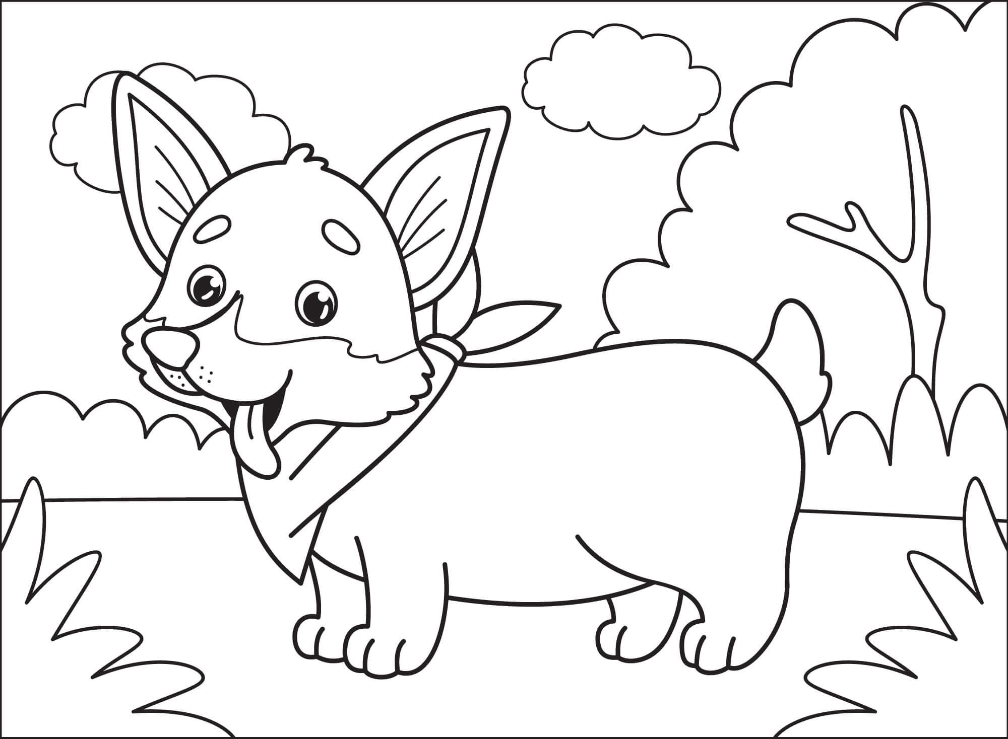 Cute Cartoon Corgi Coloring Pages
