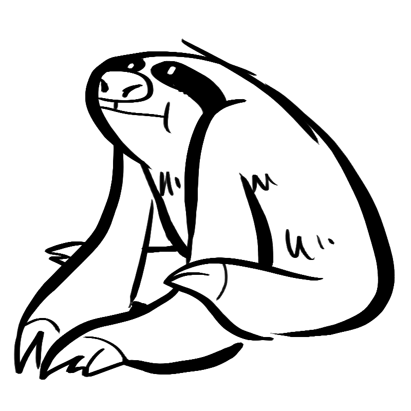 Cute Cartoon Sloth Coloring Pages