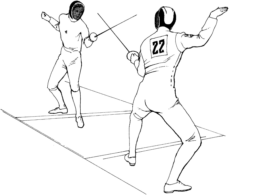 Fencing Bout Coloring Page