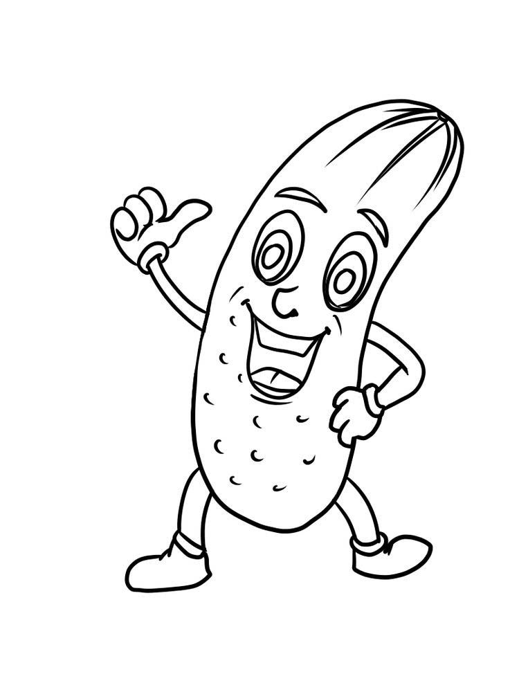 Funny Cucumber Cartoon Coloring Page