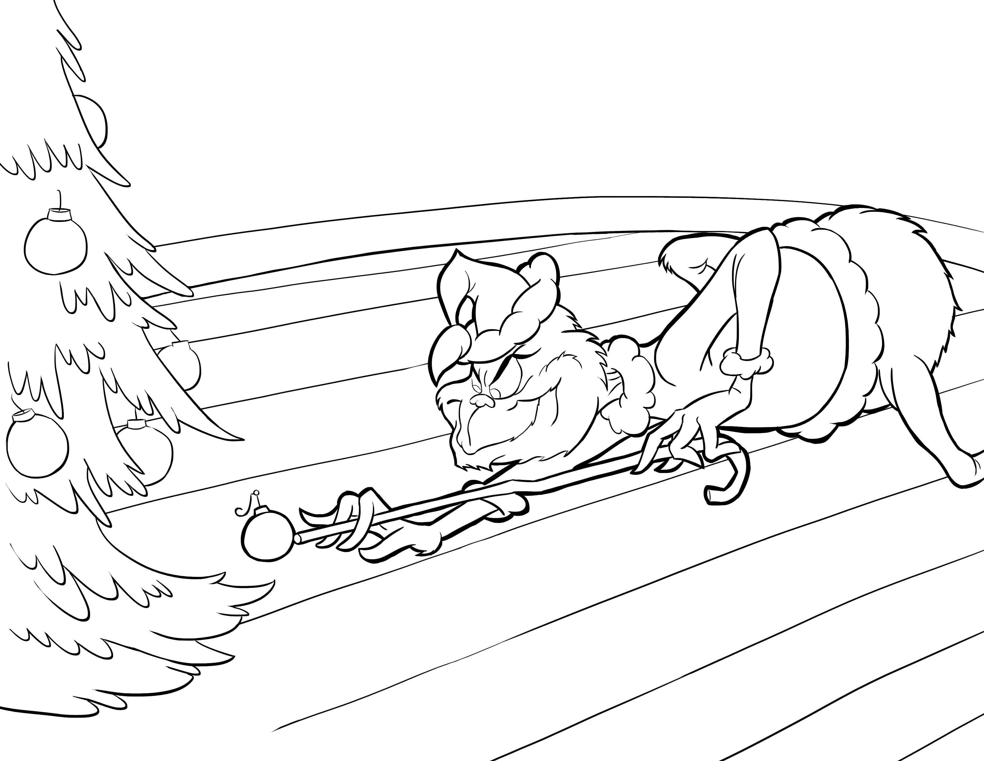 Grinch Playing Billiards Coloring Page