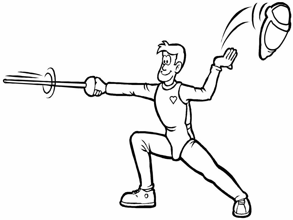 Man Fencing Coloring Page