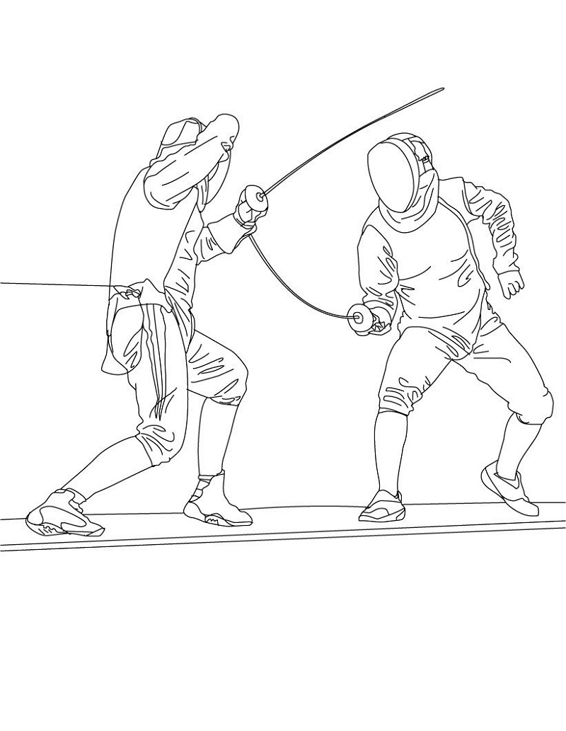 Men Fencing Coloring Pages