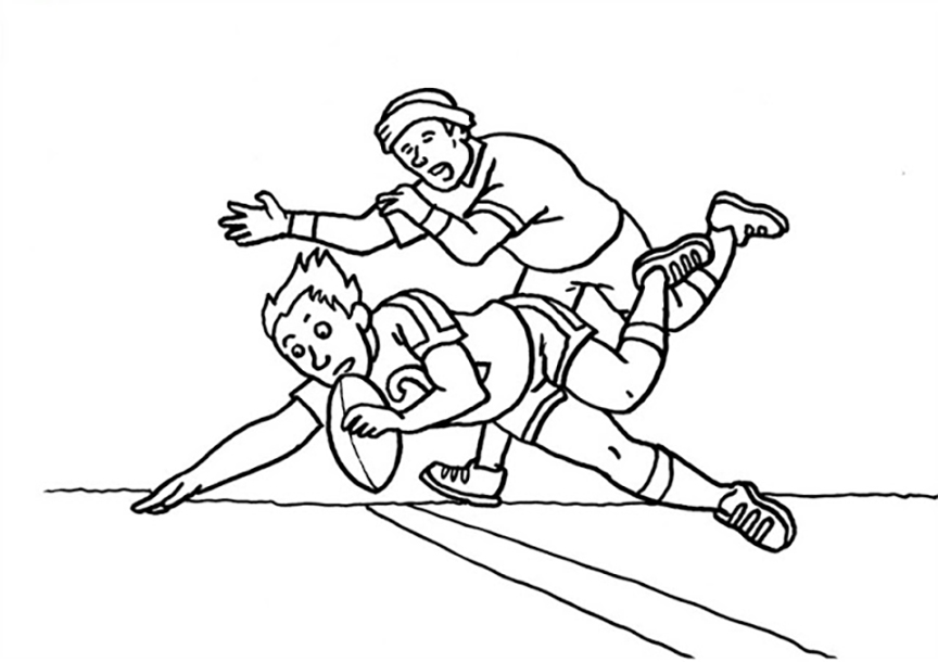 Men Playing Rugby Coloring Page