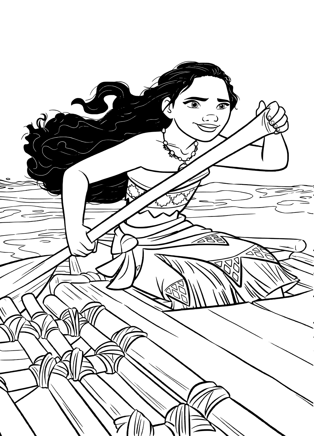 Moana Rowing Coloring Page