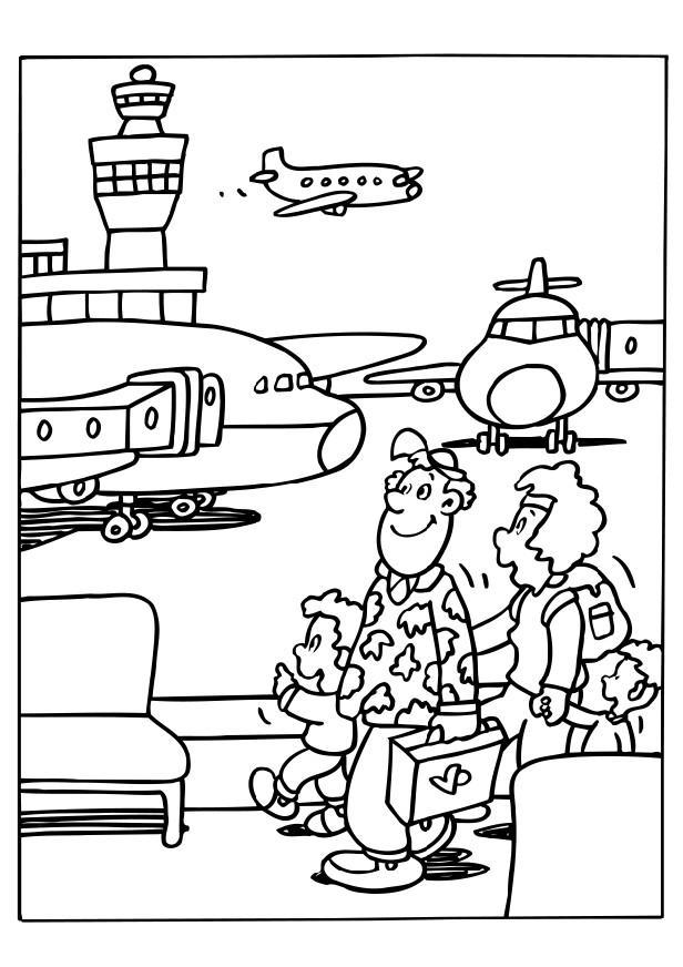 People At Airport Coloring Pages