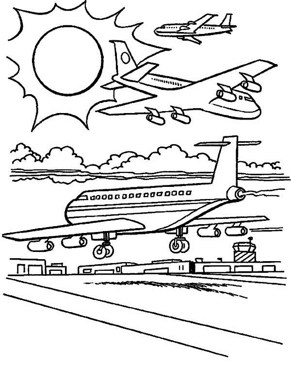 Planes At Airport Coloring Page