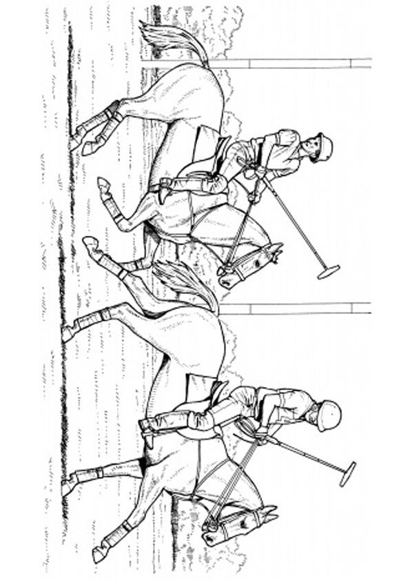 Playing Polo Coloring Pages