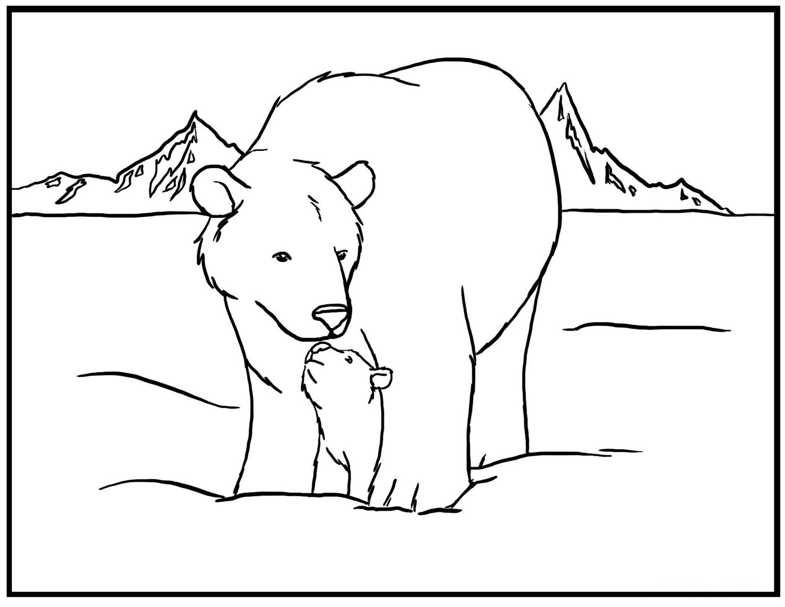 Polar Bear And Cub Coloring Page