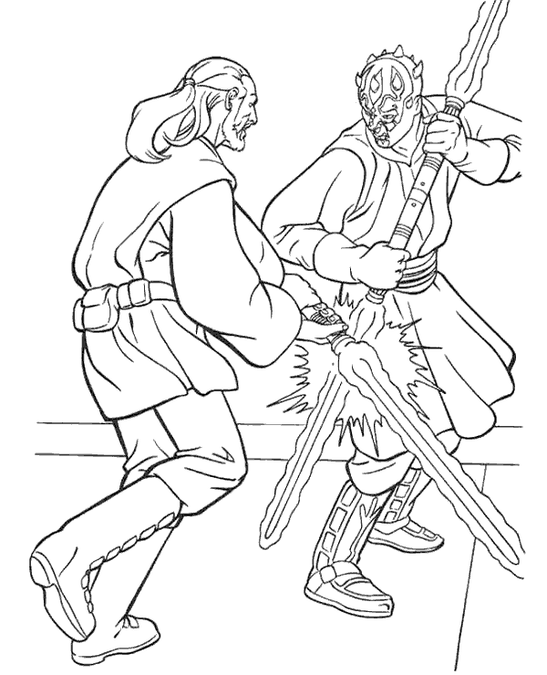 Qui Gon Jinn Fighting Darth Maul Coloring Page