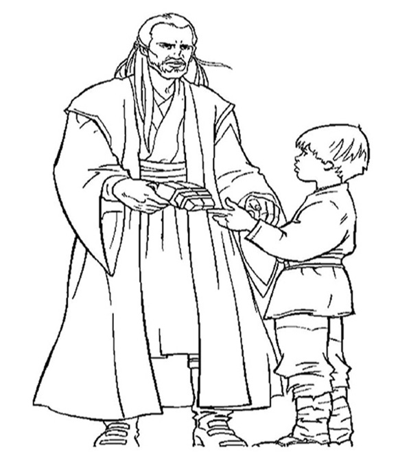 Qui Gon Jinn And Anakin Coloring Page