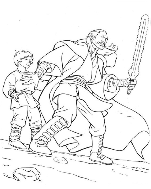 Qui Gon Jinn With Young Anakin Coloring Page