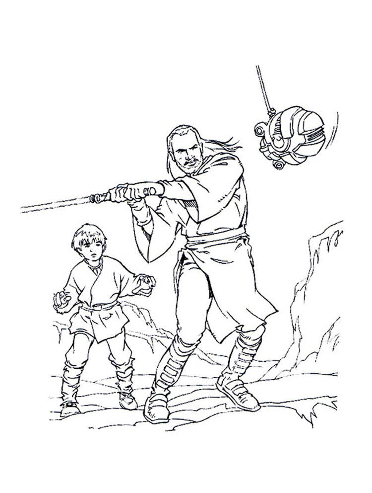 Qui Gon And Anakin Skywalker Coloring Page