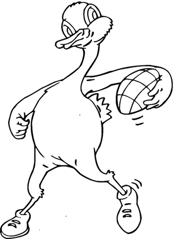 Rugby Duck Coloring Page