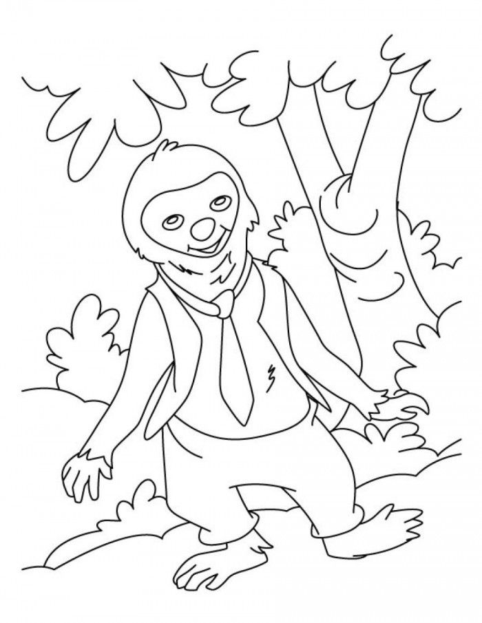 Sloth In A Tie Coloring Pages
