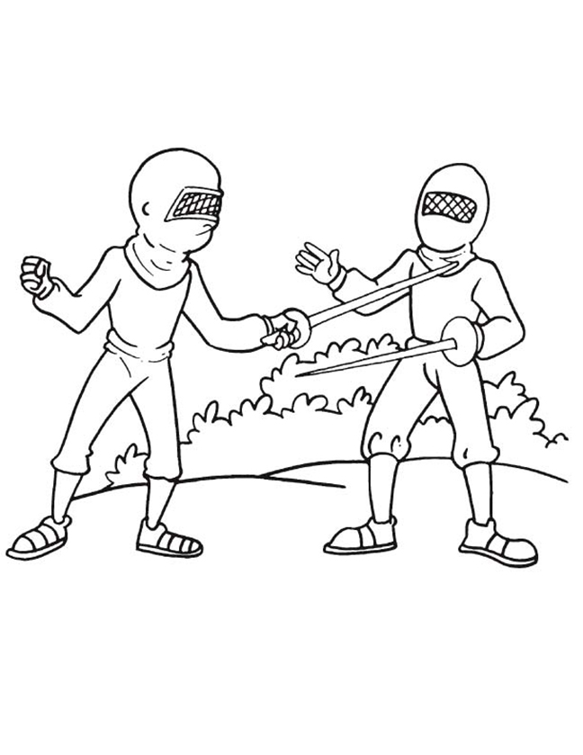 Two People Fencing Coloring Page