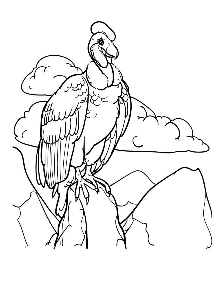 Vulture On A Mountain Coloring Page