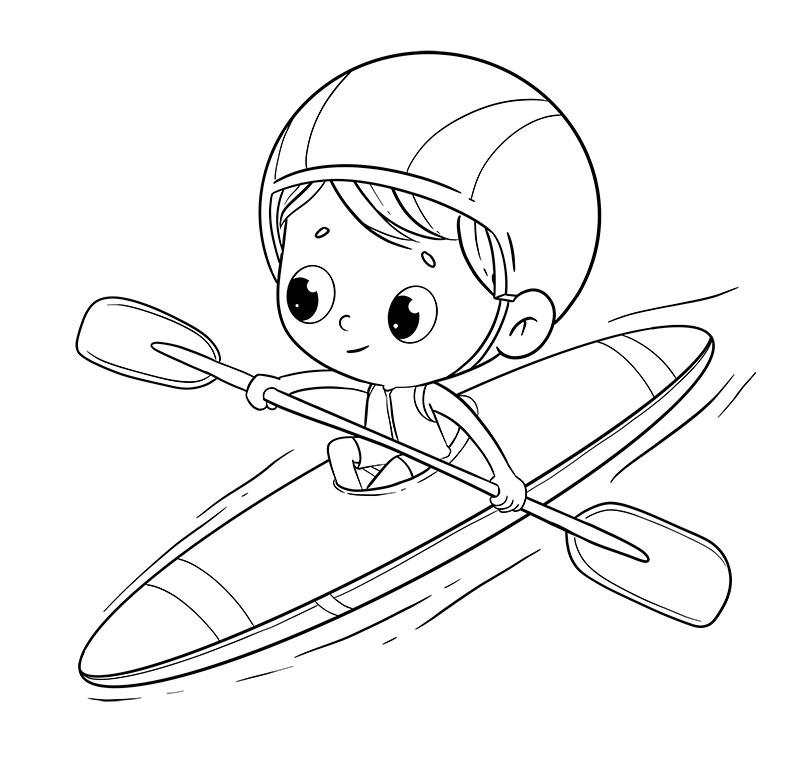 Water Sports Kayak Coloring Page