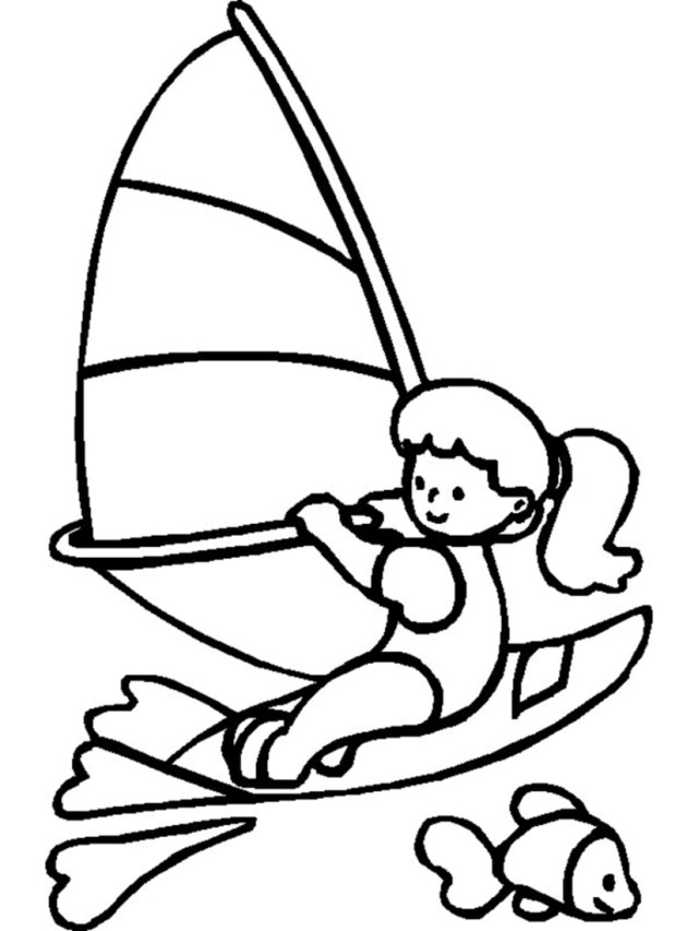 Wind Surfing Coloring Page