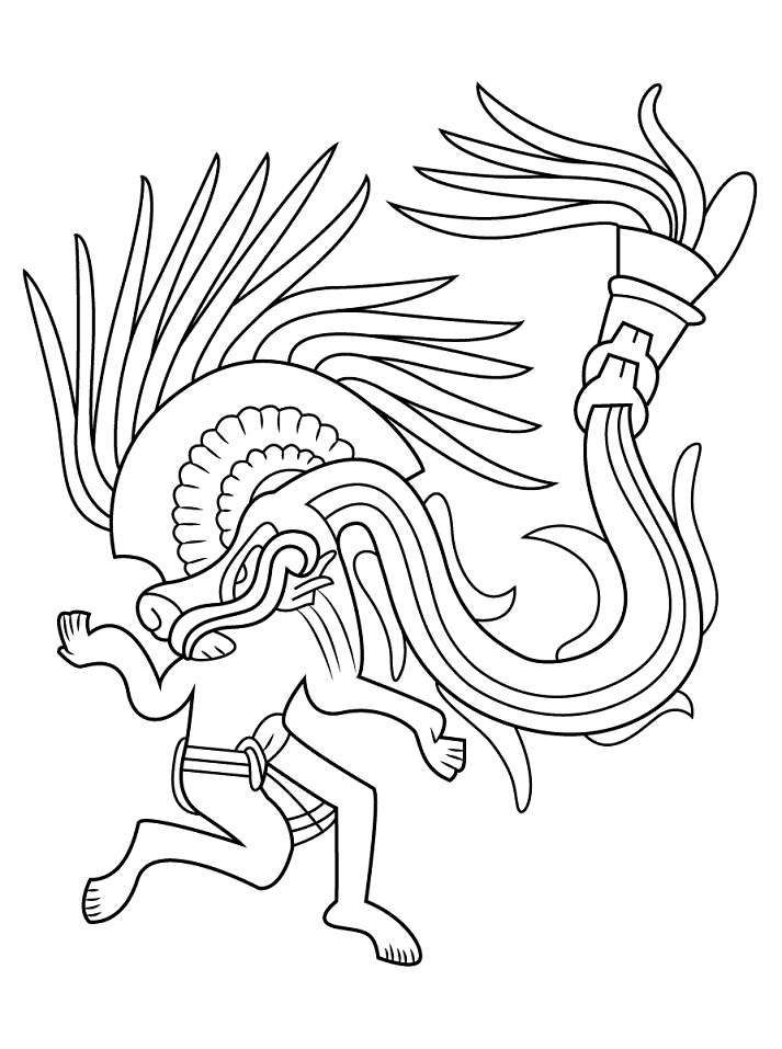 Aztec Character Coloring Page