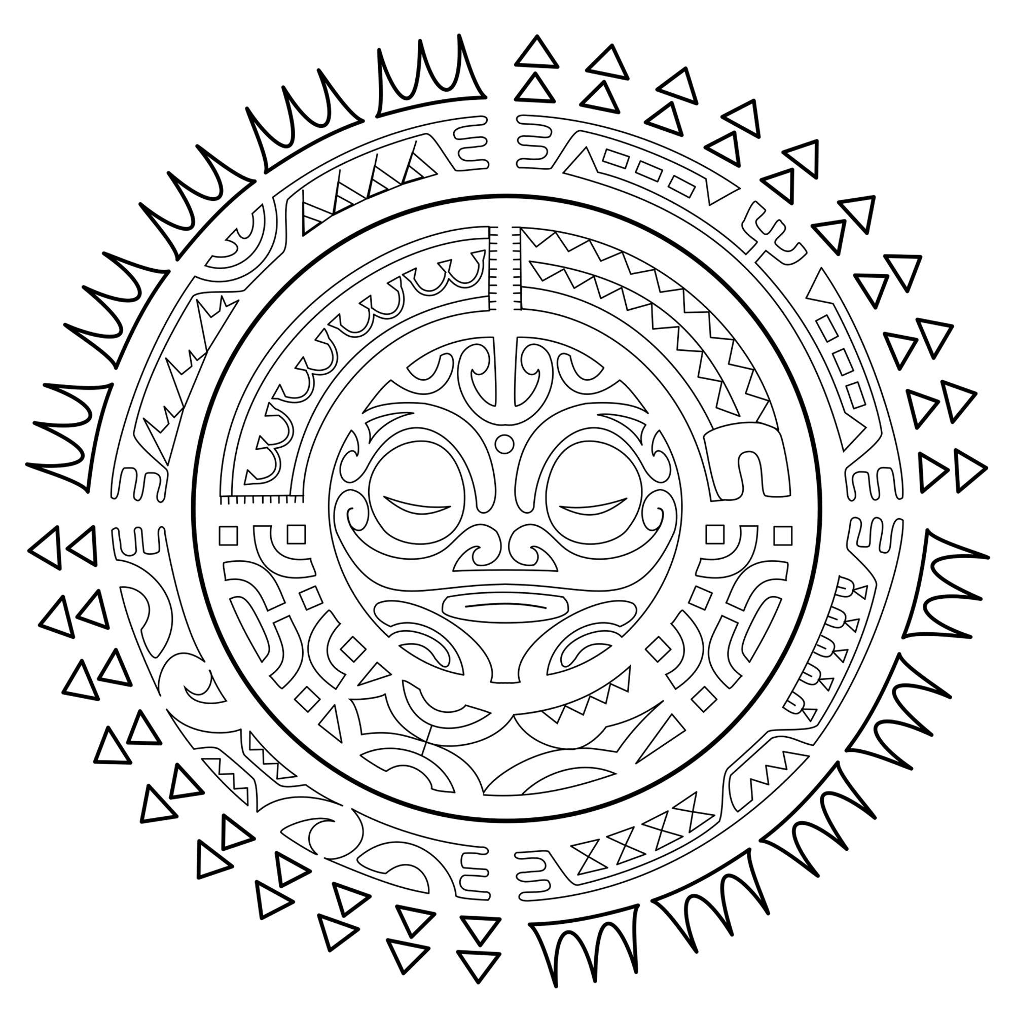 Aztec Sun Coloring Page