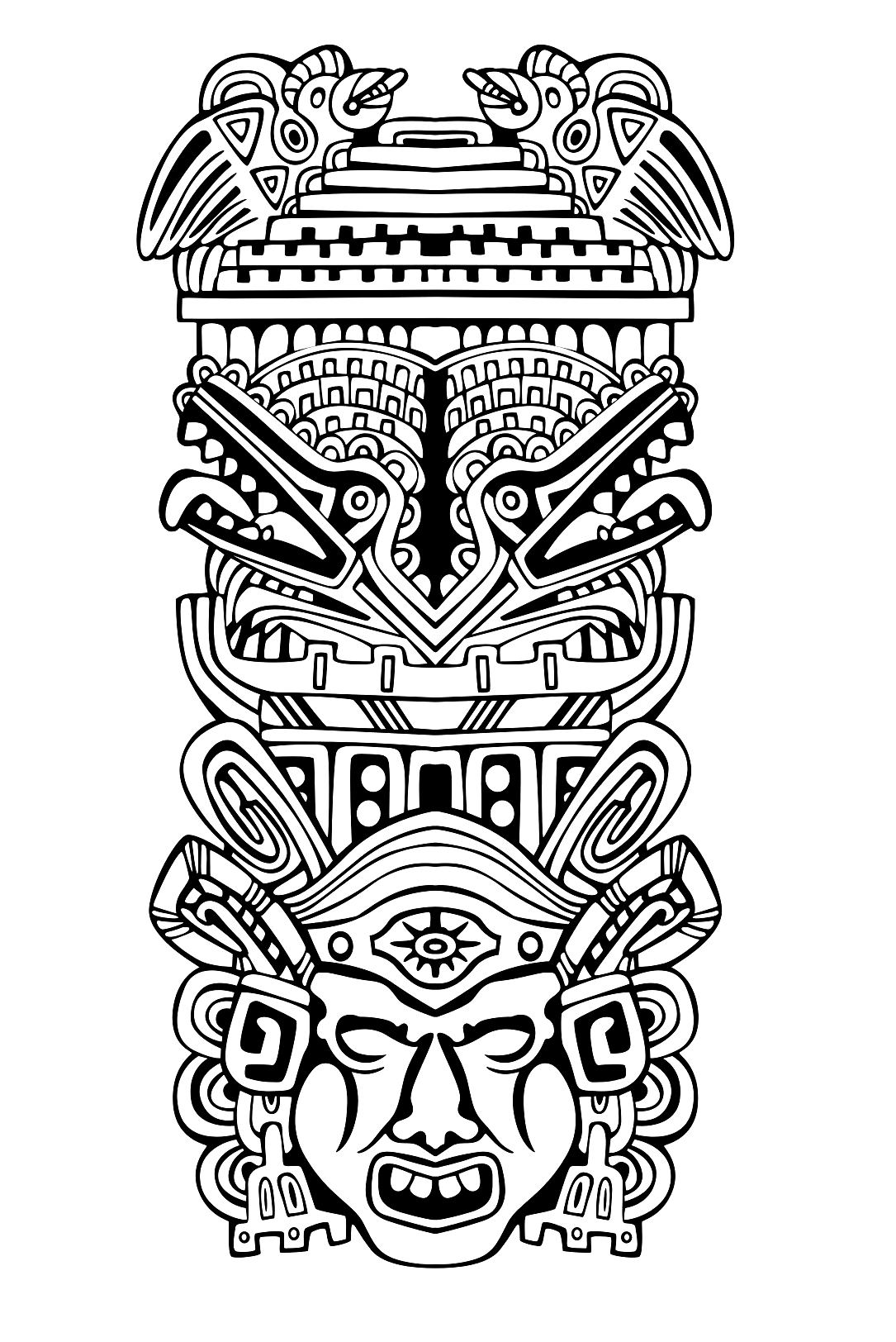 Aztec Totem Coloring Page